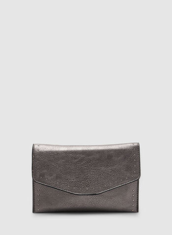 Studded Flap Clutch, Grey, hi-res,  clutch, evening, flap clutch, envelope clutch, metallic, metallic purse, metallic clutch, fall 2019, winter 2019