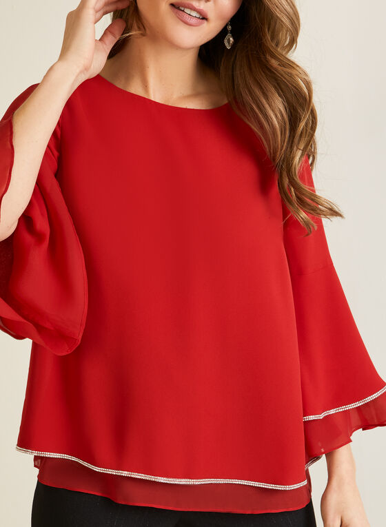Flowy Blouse With Flared Sleeves, Red