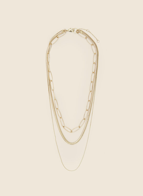 Triple Row Golden Necklace , Gold