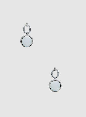 Round Stone Dangle Earrings, White, hi-res