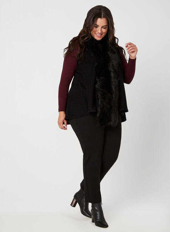 Faux Fur Knit Vest, Black