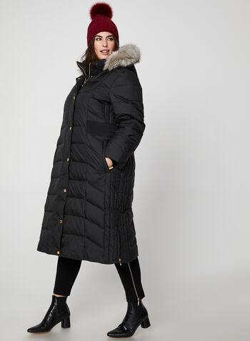 Anne Klein - Manteau long matelassé à capuchon, Noir, hi-res,  manteau, matelassé, duvet, capuchon, fausse fourrure, tricot, automne hiver 2019