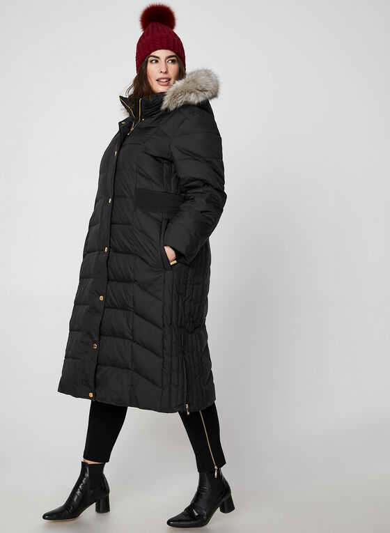 Anne Klein - Long Faux Fur Down Coat, Black