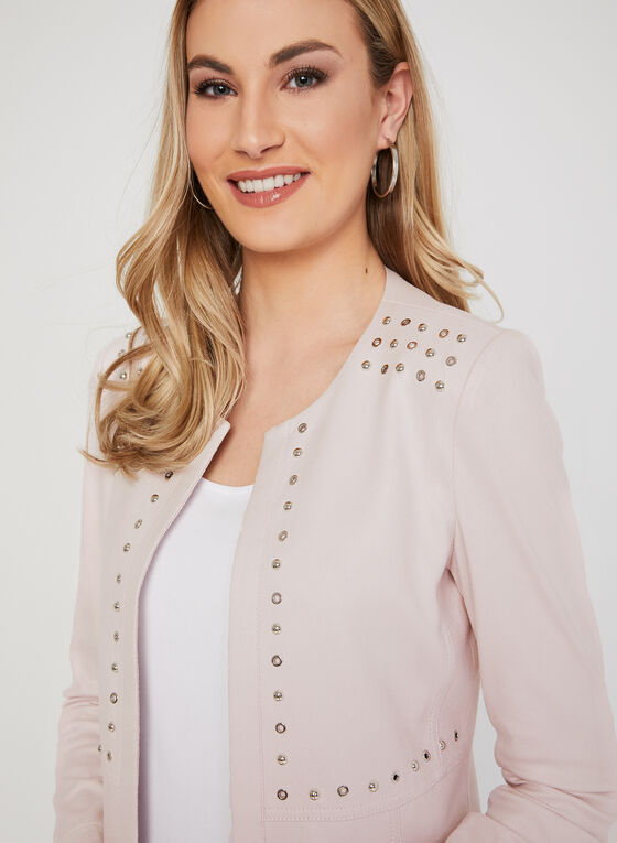 Studded Open Front Jacket, Pink
