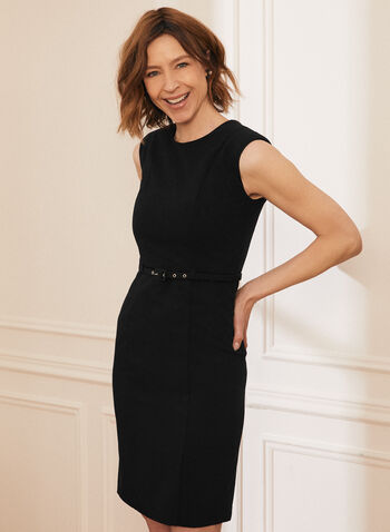 Sleeveless Belted Day Dress, Black,  dress, day, sleeveless, sheath, belt, made in Canada, spring summer 2021