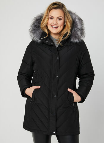 Hooded Down Coat, Black, hi-res