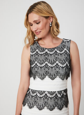Lace Trim Pleated Dress, Black, hi-res