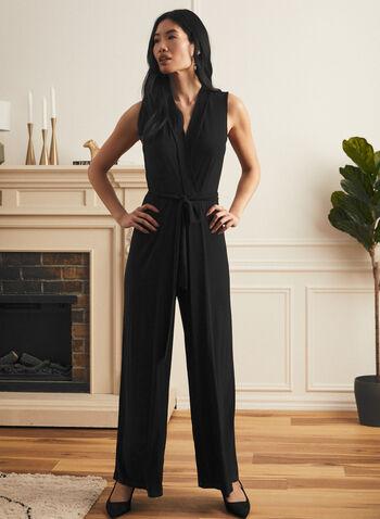 Sleeveless Belted Jumpsuit, Black,  jumpsuit, v-neck, crossover, belted, sleeveless, wide leg, keyhole, spring summer 2021