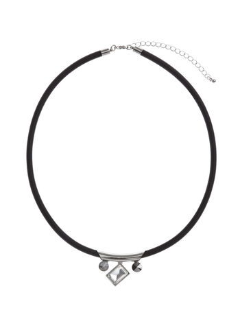 Geometric Crystal Stone Choker, Black, hi-res