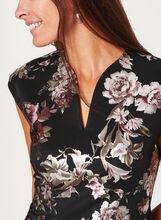 Robe fourreau à imprimé floral métallisé, Noir, hi-res