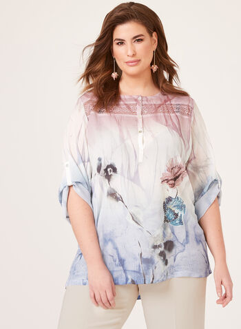 Vex - Floral Print Blouse, Blue, hi-res