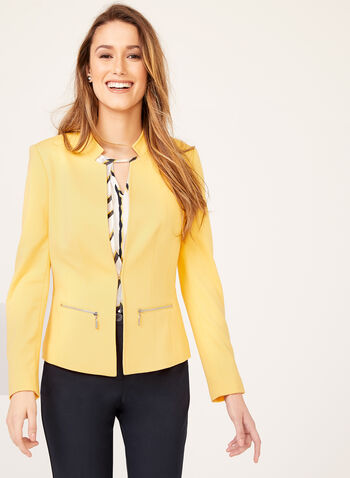 Structured Ponte Blazer, Yellow, hi-res