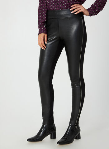 Faux Leather Leggings, Black,  leggings, slim leg, pull-on, faux leather, Ponte de Roma, zipper, fall 2019, winter 2019