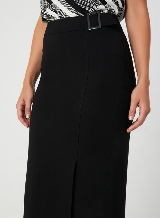 Buckle Detail Pencil Skirt, Black
