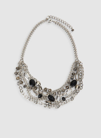 Beaded Necklace, Black,  beads, chain, necklace, layered, multi-row, fall 2019, winter 2019