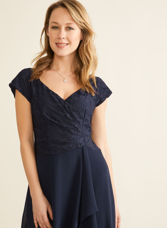 Lace Bodice Faux Wrap Dress, Blue