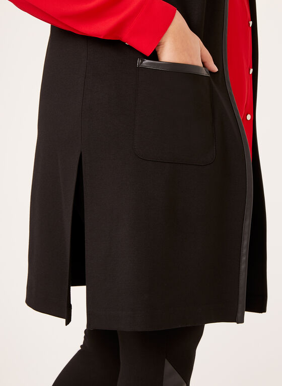 Faux Leather Trim Vest, Black, hi-res