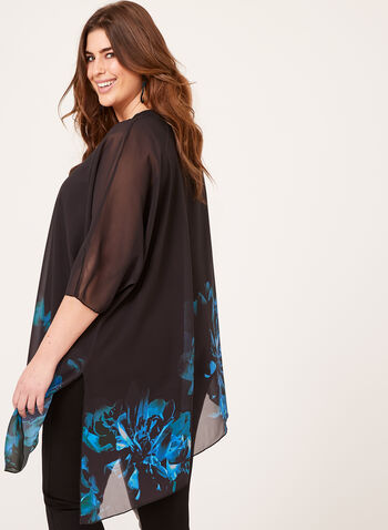 Asymmetric Sheer Floral Poncho, Black, hi-res