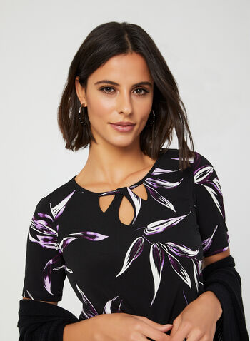 Leaf Print Jersey Top, Black, hi-res,  Canada, top, leaf print, jersey, fall 2019, winter 2019