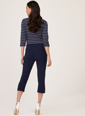 Pull-On Bengaline Capri Pants, Blue, hi-res