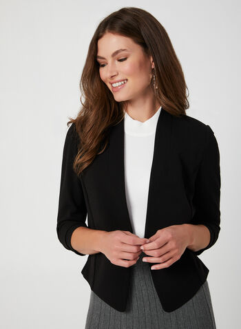 Short Fitted Crepe Blazer, Black, hi-res,  short jacket, edge-to-edge blazer, open front jacket