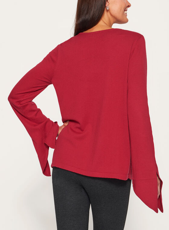 Scoop Neck Tie Sleeve Sweater, Red, hi-res