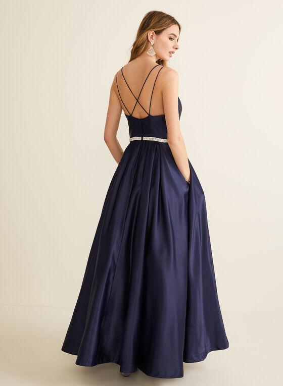 Robe de bal satinée à taille ornementée, Bleu