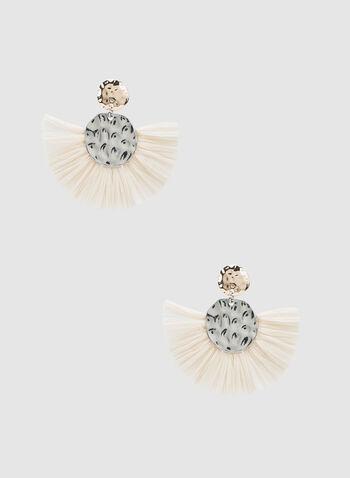 Fan Bottom Earrings , Off White, hi-res,  earrings, hammered design, tiered discs, raffia fan bottom, fall 2019