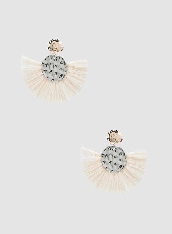 Fan Bottom Earrings , Off White