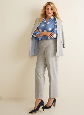 City Fit Tartan Print Pants, Grey,  pants, city fit, tartan, straight leg, mid rise, spring summer 2020