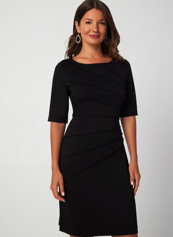 Elbow Sleeve Sheath Dress, Black, hi-res,  fall winter 2019, sheath dress, ponte de roma, elbow sleeves, long sleeve