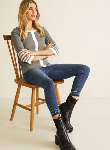 Pull à bandes contrastantes, Gris,  automne hiver 2020, pull, tricot, chandail, manches 3/4, contrastant, deux tons, bicolore, encolure ronde