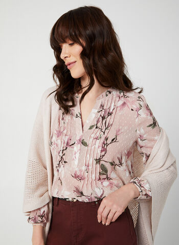 Floral Print Chiffon Blouse, Multi,  fall winter 2019, floral print, chiffon, swiss dot chiffon, long sleeves