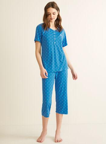 Claudel Lingerie - T-Shirt & Capri Pyjama Set, Blue,  pyjamas, set, t-shirt, capris, sleepwear, spring summer 2020