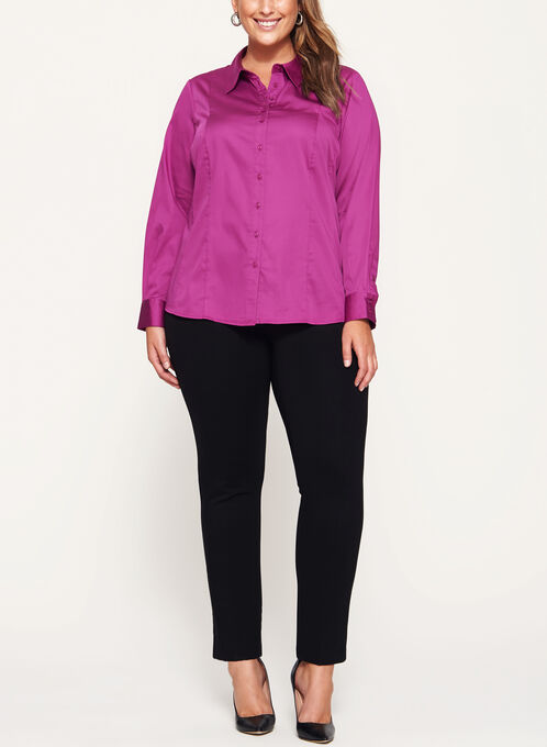 Cotton Sateen Button Down Shirt, Pink, hi-res