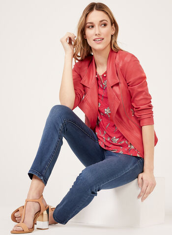 Floral Print Textured Blouse, Red, hi-res