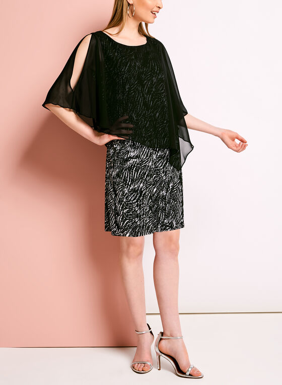 Graphic Print Cold Shoulder Poncho Dress, Black, hi-res