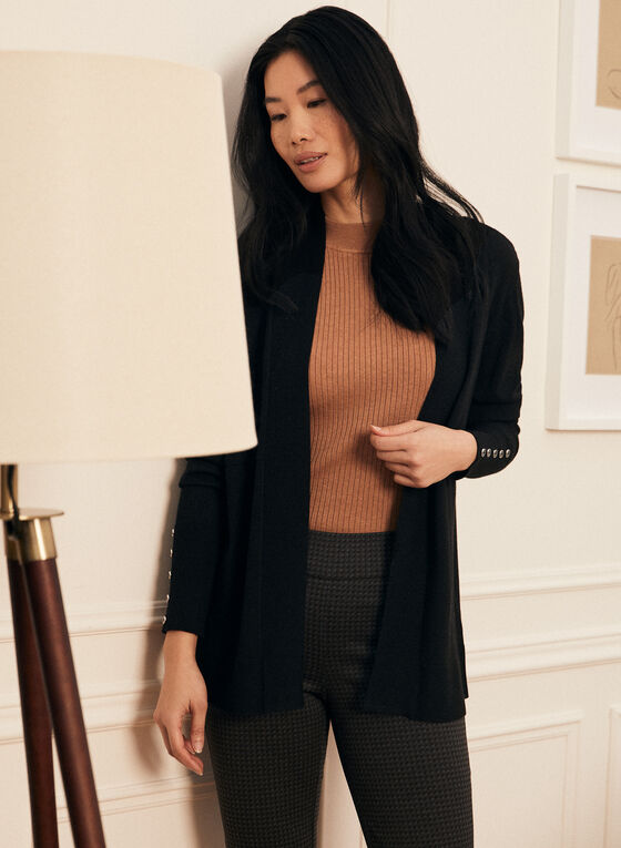 Open Front Mid-Length Cardigan, Black