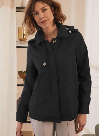 Novelti - Manteau court à capuchon amovible, Noir,  manteau, capuchon, manches longues, glow, pattes de boutonnage, printemps été 2020