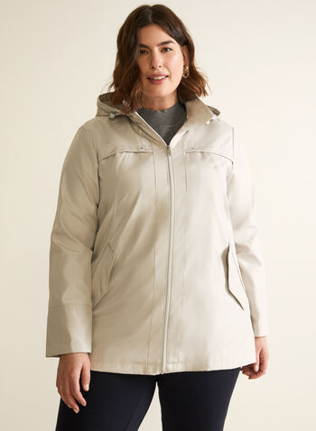 Removable Hood Raincoat, Off White,  coat, raincoat, outerwear, removable hood, zip front, flap pockets, spring summer 2020