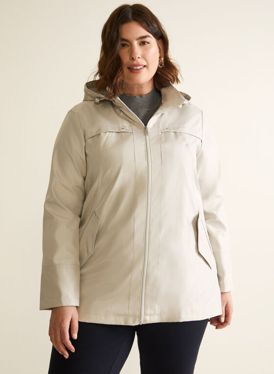 Removable Hood Raincoat, Off White