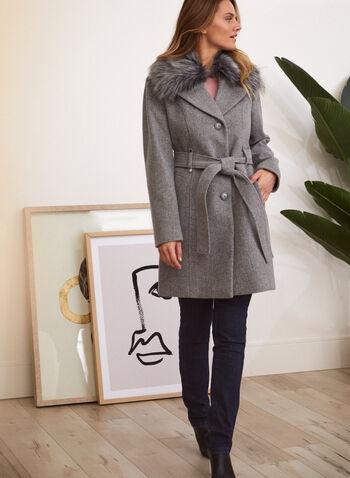 Stretch Wool Blend Coat, Grey,  fall winter 2021, outerwear, jacket, coat, stretch, faux, wool, fur, blend, detachable, long sleeves, notch collar, tie waist, belted, warm, button front