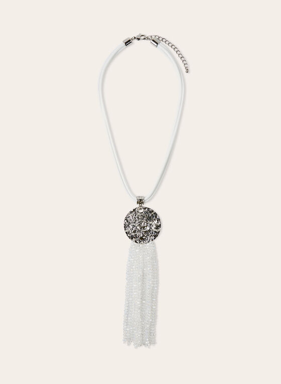 Pendant Necklace With Beaded Tassel, White, hi-res