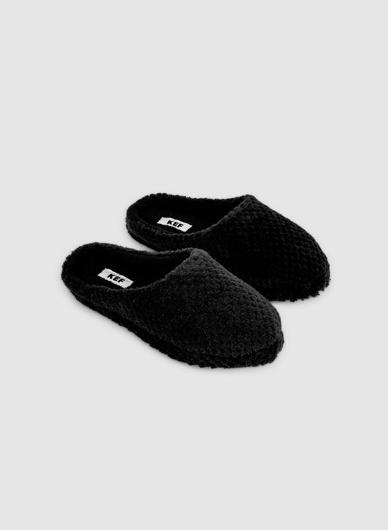 Dotted Plush Slippers, Black