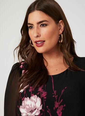 Floral Print Jersey Dress, Black, hi-res