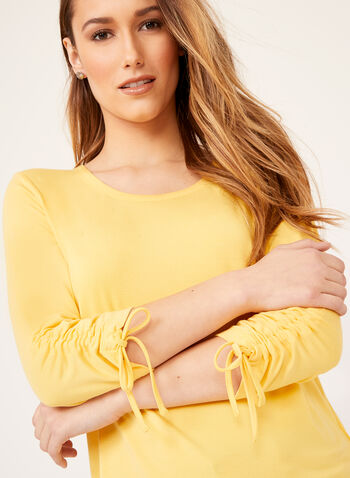 Button Trim Tie Sleeve Top, Yellow, hi-res