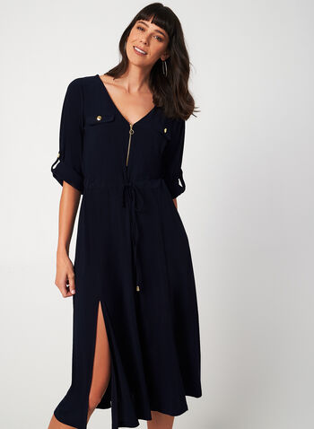 Jersey Midi Dress, Blue, hi-res,  midi dress, jersey, v-neck, drawstring, golden zipper, 3/4 convertible sleeves, fall 2019