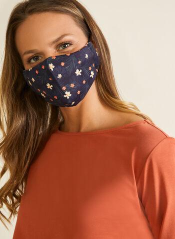 Masque en tissu floral avec filtres, Noir,  masque, floral, coton, filtre, ajustable, automne hiver 2020