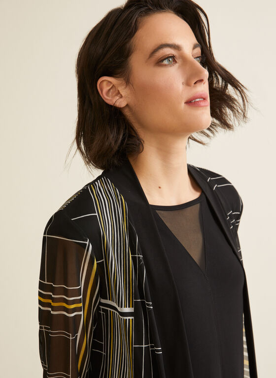 Geometric Print Open Front Top, Black
