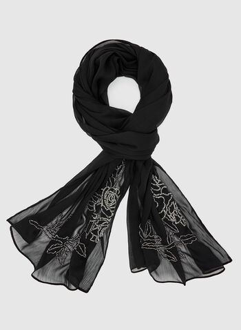 Bead Embellished Scarf, Black, hi-res